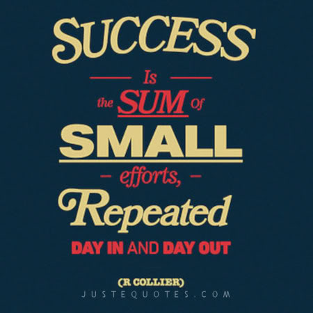 Success is the sum of small efforts repeated day in and day out. - R. Collier