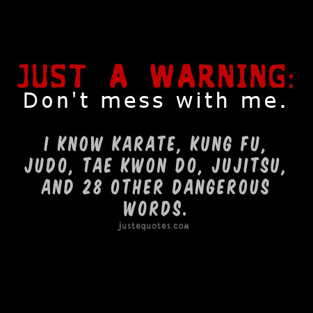 Just a warning: don't mess with me. I know karate, kung fu, judo, tae kwon do, jujitsu, and 28 other dangerous words.