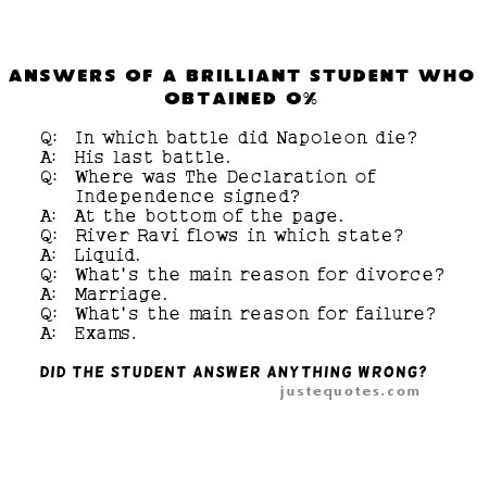 Answers of a brilliant student who obtained 0%