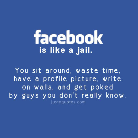 Facebook is like a jail. You sit around, waste time, have a profile picture, write on walls, and get poked by guys you don't really know.