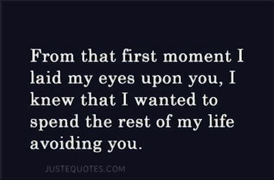 From that first moment I laid my eyes upon you, I knew that I wanted to spend the rest of my life avoiding you.