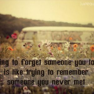 Trying to forget someone you love is like trying to remember someone you never met