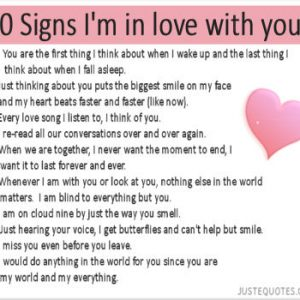 10 Signs I'm in Love with you
