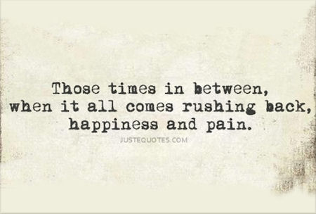 Those times in between, when it all comes rushing back, happiness and pain.