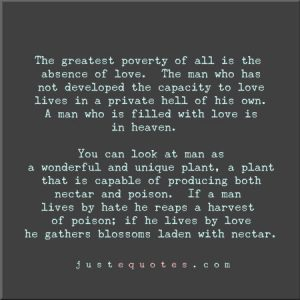 The Greatest Poverty of All is the Absence of Love