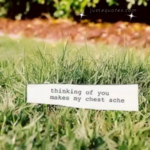 Thinking of you makes my chest ache