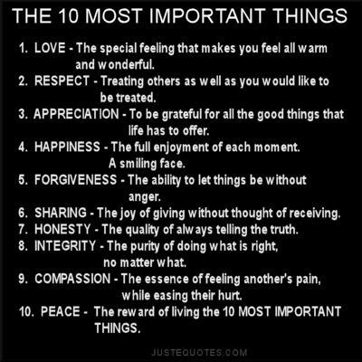The 10 most important things