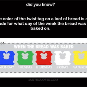 Did you know? The color of the twist tag on a loaf of bread is a code for …