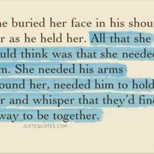 She buried her face in his shoulder as he held her.